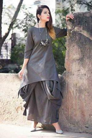 Grey Color Cotton Women's Stitched Kurti - CD-CD-21