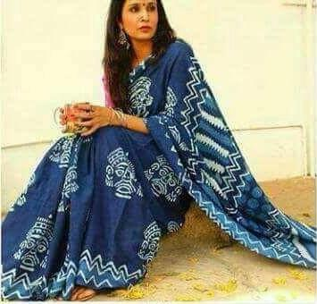 Blue Color Cotton Saree - CD-CD-22