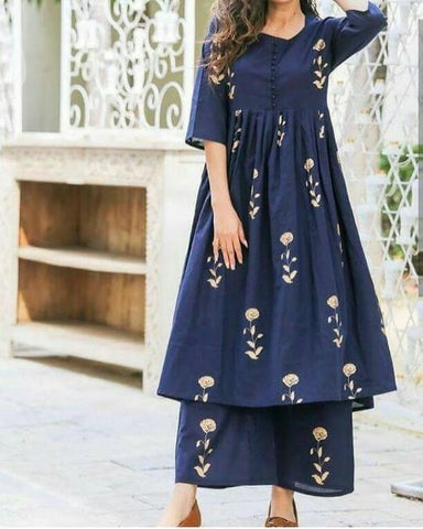 Blue Color Cotton Women's Stitched Kurti - CD-CD-23