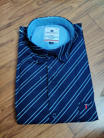 Navy Color Premium Cotton Men's Striped Shirt - CGTK-091219-LP-ST-1
