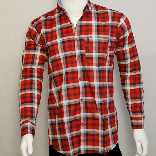 Buy Red Color Premium Cotton Men's Checkered Shirt
