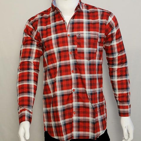 Red Color Premium Cotton Men's Checkered Shirt - CGTK-281119-LP-CH-1