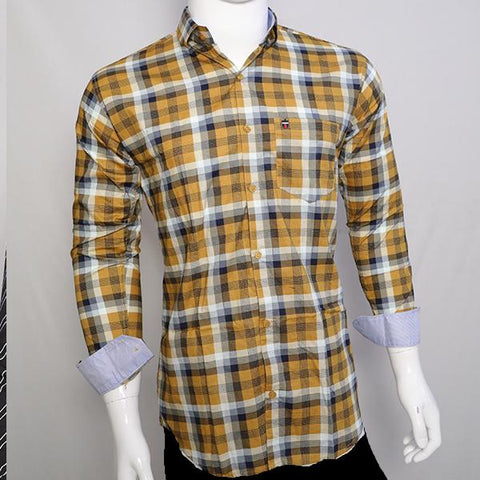 Yellow Color Premium Cotton Men's Checkered Shirt - CGTK-281119-LP-CH-2