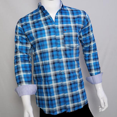 Sky Blue Color Premium Cotton Men's Checkered Shirt - CGTK-281119-LP-CH-3