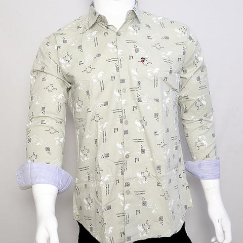 Light Grey Color Premium Cotton Men's Printed Shirt - CGTK-281119-LP-PR-1