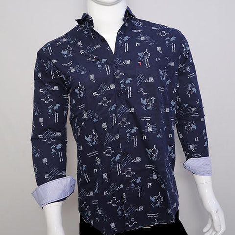Navy Blue Color Premium Cotton Men's Printed Shirt - CGTK-281119-LP-PR-2