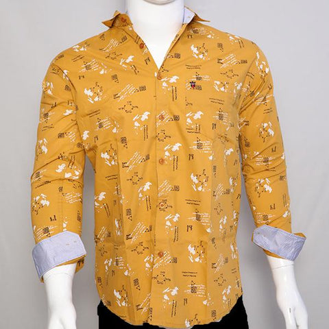 Yellow Color Premium Cotton Men's Printed Shirt - CGTK-281119-LP-PR-3