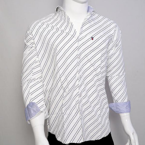 White Color Premium Cotton Men's Stripes Shirt - CGTK-281119-LP-ST-1