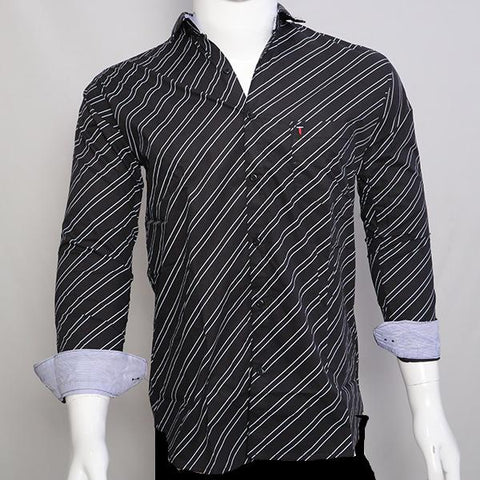 Black Color Premium Cotton Men's Stripes Shirt - CGTK-281119-LP-ST-2
