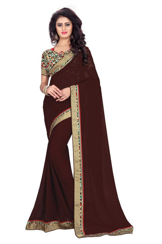 Brown Color Chiffon Designer Saree - CH-1225