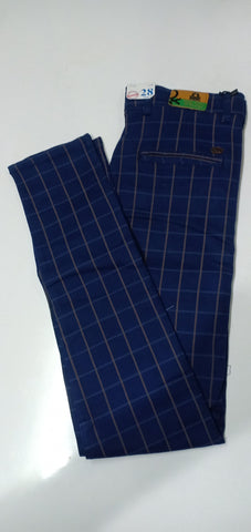 Navy blue Color Cotton Men's Checkered Trouser - CH2