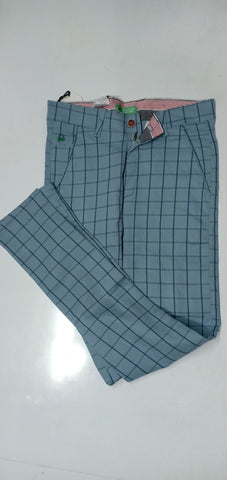 Sky blue Color Cotton Men's Checkered Trouser - CH3
