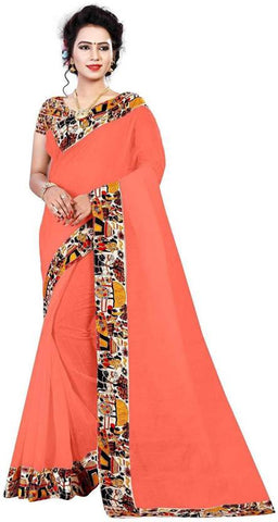 Orange Color Semi Modal Chanderi Saree - CHANDERI-HOUSE-C