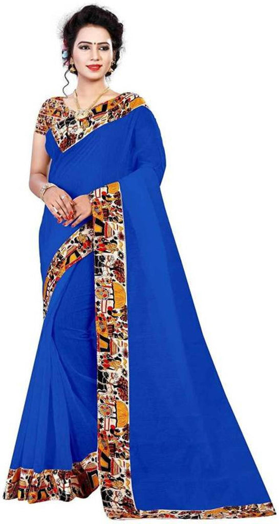 Buy Blue Color Semi Modal Chanderi Saree
