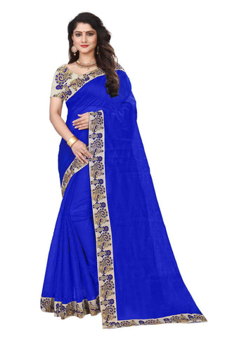 Blue Color Semi Modal Chanderi Saree - CHANDERI-PEACOCK-A