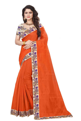 Orange Color Semi Modal Chanderi Saree - CHANDERI-PEACOCK-B