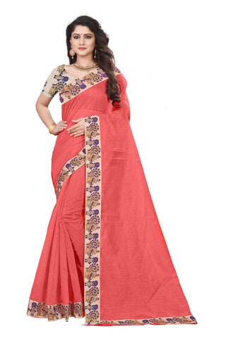 Peach Color Semi Modal Chanderi Saree - CHANDERI-PEACOCK-C