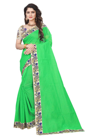 Green Color Semi Modal Chanderi Saree - CHANDERI-PEACOCK-D