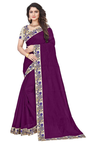Wine Color Semi Modal Chanderi Saree - CHANDERI-PEACOCK-E