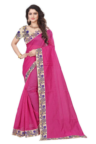 Pink Color Semi Modal Chanderi Saree - CHANDERI-PEACOCK-F