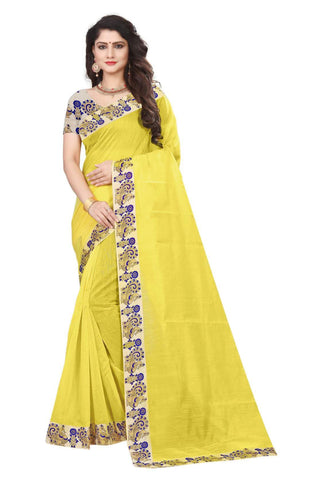 Yellow Color Semi Modal Chanderi Saree - CHANDERI-PEACOCK-G