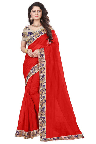 Red Color Semi Modal Chanderi Saree - CHANDERI-PEACOCK-H