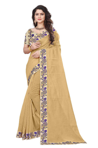 Beige Color Semi Modal Chanderi Saree - CHANDERI-PEACOCK-I