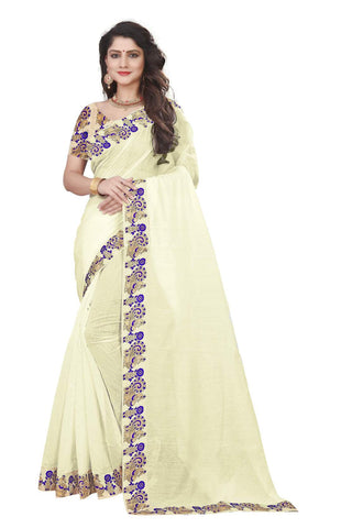 White Color Semi Modal Chanderi Saree - CHANDERI-PEACOCK-J