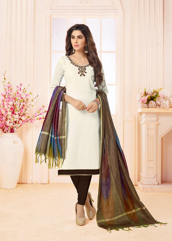 White Color Cotton UnStitched Salwar - CHANDNI-1007
