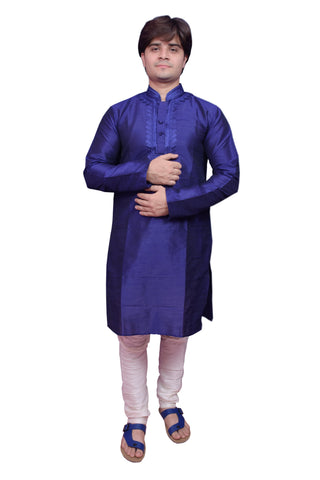 Navy Blue Color Banarasi Dupion Silk Stitched Men's Kurta Pyjama - CHK02