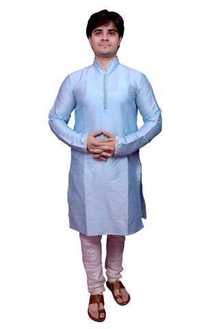 Sky Blue Color Banarasi Dupion Silk Stitched Men's Kurta Pyjama - CHK04
