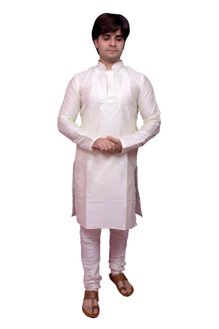 White Color Banarasi Dupion Silk Stitched Men's Kurta Pyjama - CHK05