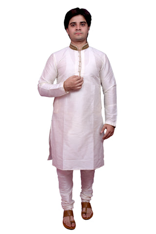 White Color Banarasi Dupion Silk Stitched Men's Kurta Pyjama - CHK06