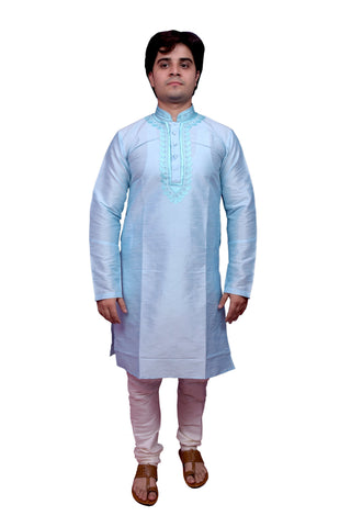 Sky Blue Color Banarasi Dupion Silk Stitched Men's Kurta Pyjama - CHK07