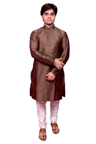 Brown Color Banarasi Dupion Silk Stitched Men's Kurta Pyjama - CHK08