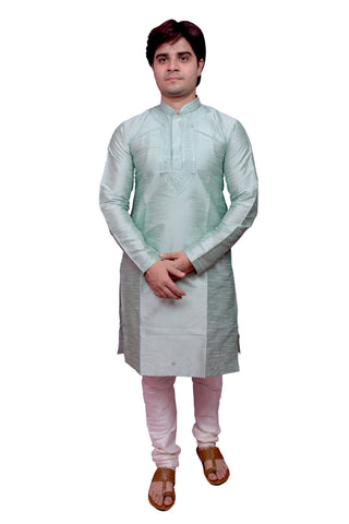 Light Green Color Banarasi Dupion Silk Stitched Men's Kurta Pyjama - CHK09