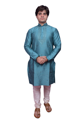 Blue Color Banarasi Dupion Silk Stitched Men's Kurta Pyjama - CHK11