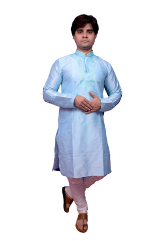 Blue Color Banarasi Dupion Silk Stitched Men's Kurta Pyjama - CHK12