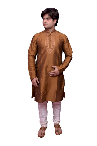 Brown Color Banarasi Dupion Silk Stitched Men's Kurta Pyjama - CHK13
