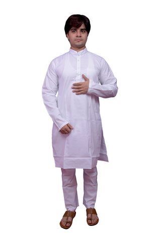 White Color Banarasi Dupion Silk Stitched Men's Kurta Pyjama - CHK14