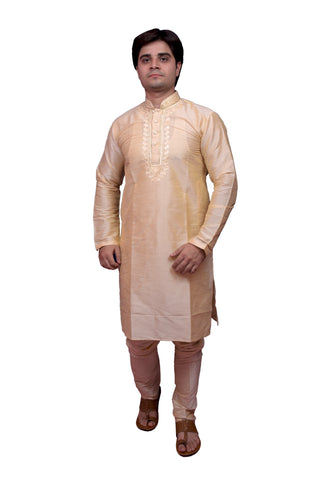Gold Color Banarasi Dupion Silk Stitched Men's Kurta Pyjama - CHK15