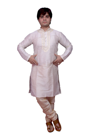 White Color Banarasi Dupion Silk Stitched Men's Kurta Pyjama - CHK16