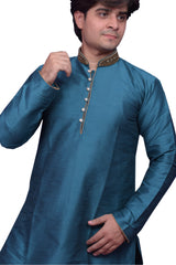 Blue Color Banarasi Dupion Silk Stitched Men's Kurta Pyjama - CHK19
