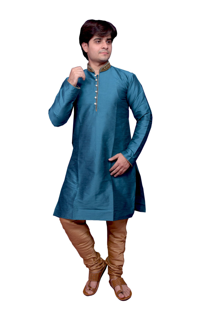 Buy Blue Color Banarasi Dupion Silk Stitched Men's Kurta Pyjama