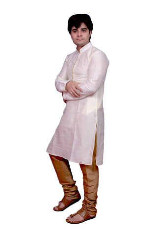White Color Banarasi Dupion Silk Stitched Men's Kurta Pyjama - CHK20