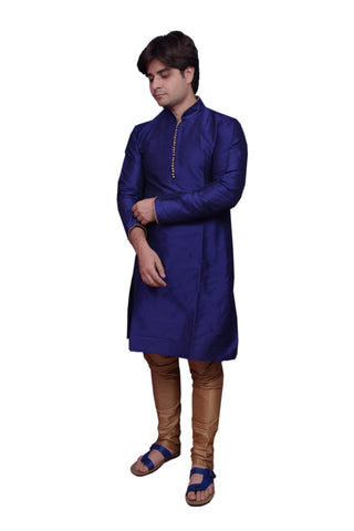 Royal Blue Color Banarasi Dupion Silk Stitched Men's Kurta Pyjama - CHK21