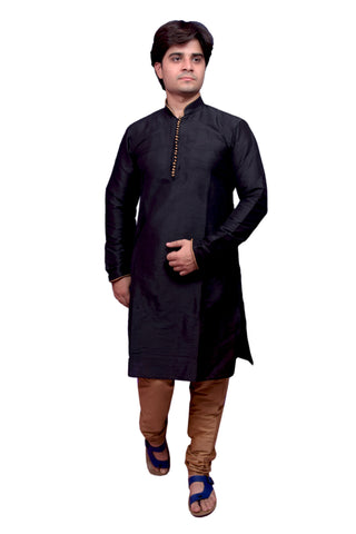 Black Color Banarasi Dupion Silk Stitched Men's Kurta Pyjama - CHK22