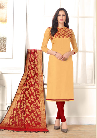 Beige Color Cotton UnStitched Salwar - CHUNRI-2001