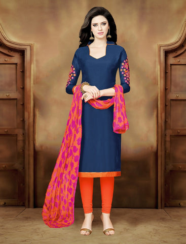 Navy Blue Color Chanderi UnStitched Salwar  - CKMK101011A