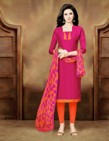 Pink Color Juth Cotton & Chanderi UnStitched Salwar  - CKMK101011B